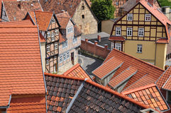 Quedlinburg, Saxony Anhalt, Germany. The Unesco listed historic village of Quedlinburg, Saxony Anhalt, Germany. Old half timbered houses in the town centre and Stock Image