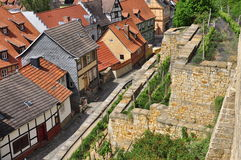 Quedlinburg, Saxony Anhalt, Germany. The Unesco listed historic village of Quedlinburg, Saxony Anhalt, Germany. Old half timbered houses in the town centre Royalty Free Stock Photos