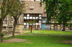 Quedlinburg, Saxony Anhalt, Germany. The Unesco listed historic village of Quedlinburg, Saxony Anhalt, Germany. Old half timbered houses in the town centre Stock Photography