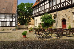 Quedlinburg, Saxony Anhalt, Germany. The Unesco listed historic village of Quedlinburg, Saxony Anhalt, Germany. Old half timbered houses in the town centre Royalty Free Stock Images