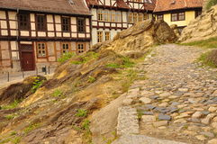 Quedlinburg, Saxony Anhalt, Germany. The Unesco listed historic village of Quedlinburg, Saxony Anhalt, Germany. Old half timbered houses in the town centre Stock Photos
