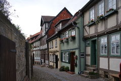 Quedlinburg street. With medieval timbered houses royalty free stock image