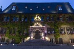 Quedlinburg townhall, Germany, at night Stock Photo