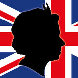 Queeen Elizabeth The Second silhouette with UK flag. Queeen Elizabeth The Second silhouette with United Kingdom flag, vector file, ilustration royalty free illustration