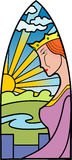 Queen. Vector illustration of the queen standing on a fortification. Stained-glass window style Royalty Free Stock Photos