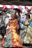 The Queen. Walking with her court of men and ladies during the Renaissance Festival in Tampa Florida Royalty Free Stock Photography