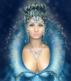 Silver and Blue Fantasy Queen, Snow queen Stock Photo