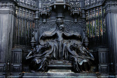 Queen Alexandra memorial and statue opposite St James`s Palace in Marlborough Road in London. stock image