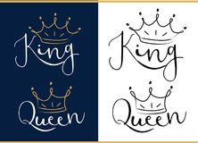 Free Queen And King. Black Text Logo With Royal Crown And Tiara. Royalty Free Stock Photography - 110478727