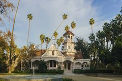 Queen Anne Cottage. The beautiful Queen Anne Cottage at Los Angeles County Arboretum & Botanic Stock Photo