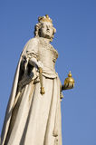Queen Anne Statue, City of London. Statue of Queen Anne (1665 - 1714) sculpted in 1712 by Francis Bird.  On public display in front of St Paul's Cathedral in the Royalty Free Stock Photo