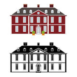 Queen Anne Style Mansion. Mansion in 18th century Queen Anne style, color and black monochrome version on different layers Stock Photos