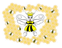 Queen Bee. An illustration of a queen honeybee surrounded by honeycombs and worker bees Royalty Free Stock Photo