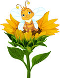 Queen Bee on Sunflower. Illustration of a cute queen bee sits on sunflower Stock Photo