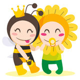 Queen Bee Wants Flower. Children with queen bee and flower costumes playing together Stock Images