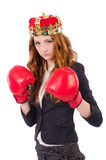 Queen boxer businesswoman Royalty Free Stock Photo