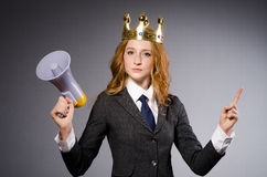 Queen businessman with loudspeaker Royalty Free Stock Photo