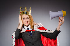 Queen businessman with loudspeaker Royalty Free Stock Images