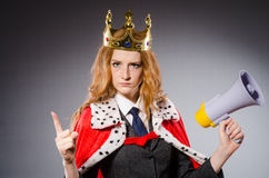 Queen businessman with loudspeaker Royalty Free Stock Photography