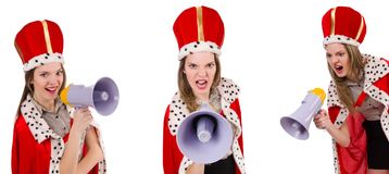 The queen businessman with loudspeaker in funny concept Stock Photos