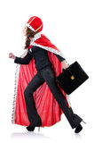 Queen businesswoman. Isolated on the white Stock Image