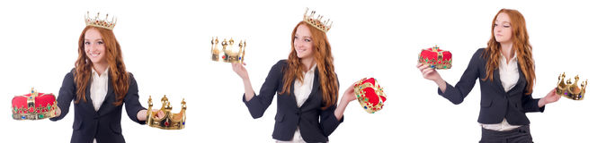 The queen businesswoman in business concept. Queen businesswoman in business concept Royalty Free Stock Image