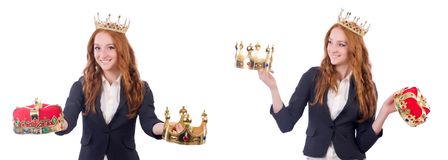 The queen businesswoman in business concept. Queen businesswoman in business concept Stock Images