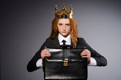 Queen businesswoman. In funny concept Stock Images