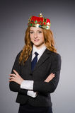 Queen businesswoman. In funny concept Royalty Free Stock Photography