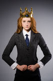 Queen businesswoman. In funny concept Stock Image