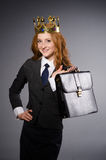 Queen businesswoman. In funny concept Stock Photo