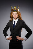 Queen businesswoman. In funny concept Stock Photography