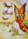 Queen of Butterflies. The Fairy-Queen of the Butterflies sitting in her castle. This image was painted manually with watercolor on illustration board, then Royalty Free Stock Photos