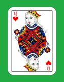 Queen of cards. The beautiful card of the Queen of Hearts in classic style Royalty Free Stock Photos