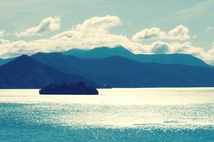 Queen Charlotte Sound, New Zealand. Landscape View of Picton Harbour, Queen Charlotte Sound,  in New Zealand including Mabel Island royalty free stock images