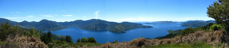 Queen Charlotte Sound panoramic view Royalty Free Stock Photos