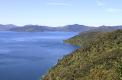 Queen Charlotte track around Marlborough Sounds. The Queen Charlotte track circulars around Marlborough Sounds in New Zealand Stock Photos