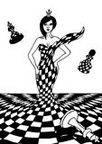Queen chess illustration. Of a black and white speaker Stock Photo