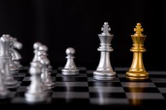 Queen chess set with enemy background.  Royalty Free Stock Images