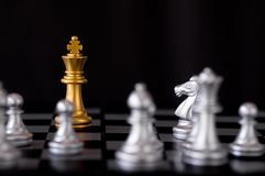 Queen chess set with enemy background. Queen chess set with enemy on black background Stock Image