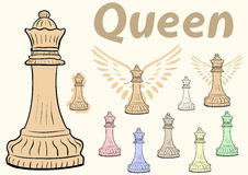 Queen chessman clipart. Clipart a set with multi-colored chessman queen Stock Photography