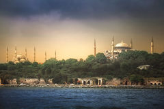 Byzantium - Constantinople - Istanbul. Queen of Cities. Hagia Sophia and Sultan Ahmet mosque as seen from Bosporus stock image