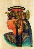 Queen Cleopatra on Papyrus. Queen Cleopatra on Egyptian Papyrus Royalty Free Stock Image