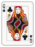 Queen of clubs. Playing card vector illustration
