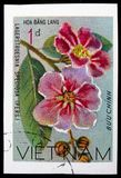 Queen crape myrtle (Lagerstroesnia speciosa), Wildflowers serie, circa 1977. MOSCOW, RUSSIA - NOVEMBER 10, 2018: A stamp printed in Vietnam shows Queen crape royalty free stock photo