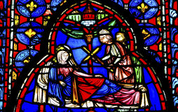 Queen Cross Stained Glass Sainte Chapelle Paris France Royalty Free Stock Images
