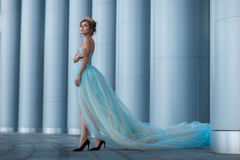 Queen with a crown among the columns. Royalty Free Stock Images