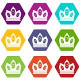 Queen crown icon set color hexahedron. Queen crown icon set many color hexahedron isolated on white vector illustration Stock Photos