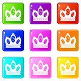 Queen crown icons 9 set. Queen crown icons of 9 color set isolated vector illustration Royalty Free Stock Image