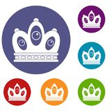 Queen crown icons set. In flat circle red, blue and green color for web Stock Photo